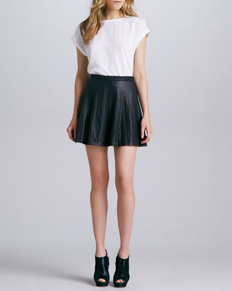 Actra Pleated Leather Skirt