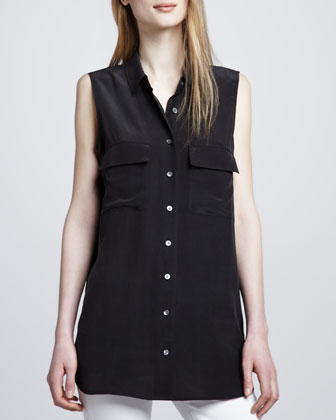 Signature Sleeveless Pocket Blouse, Black