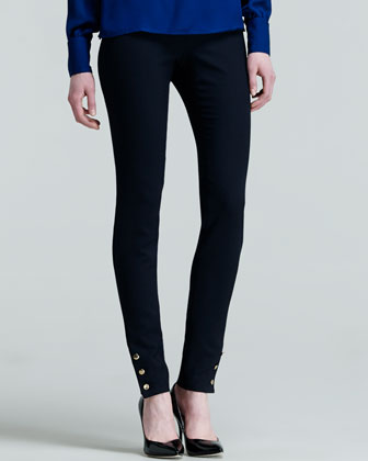 Button-Ankle Wool Leggings