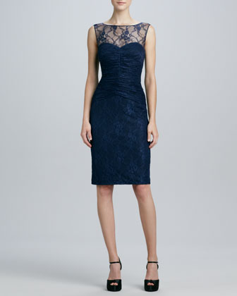 Sleeveless Lace Illusion-Neck Cocktail Dress