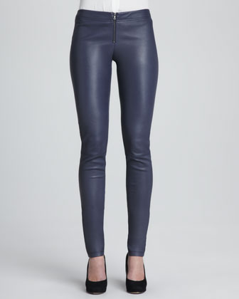 Becker Drape-Waist Top & Leather Zip-Front Leggings