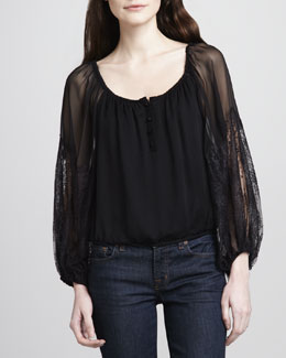 Alice + Olivia Isla Lace-Sleeve Peasant Blouse