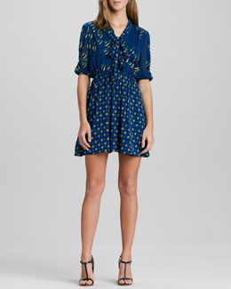 Alice + Olivia Neka Printed Tie-Neck Dress
