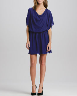 Alice + Olivia Dia Draped Chiffon Dress