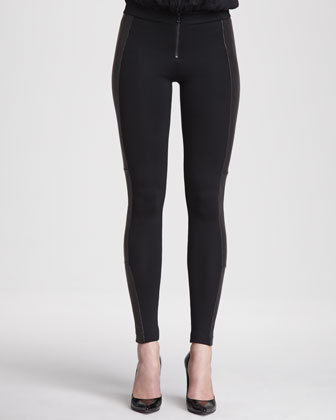 Ponte/Leather Combo Leggings