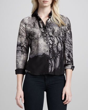 Forest Print Button-Up Blouse, Black