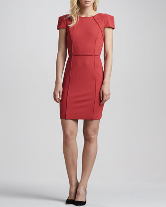 Piped Cap-Sleeve Fitted Dress