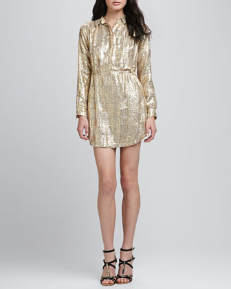 Lights Sequined Shirtdress