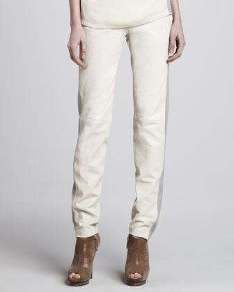 Masako Two-Tone Relaxed Leather Pants