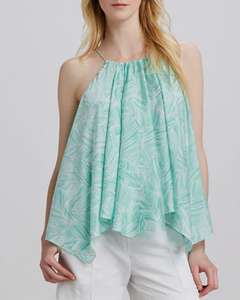 Uneven Gathered Chiffon Tank
