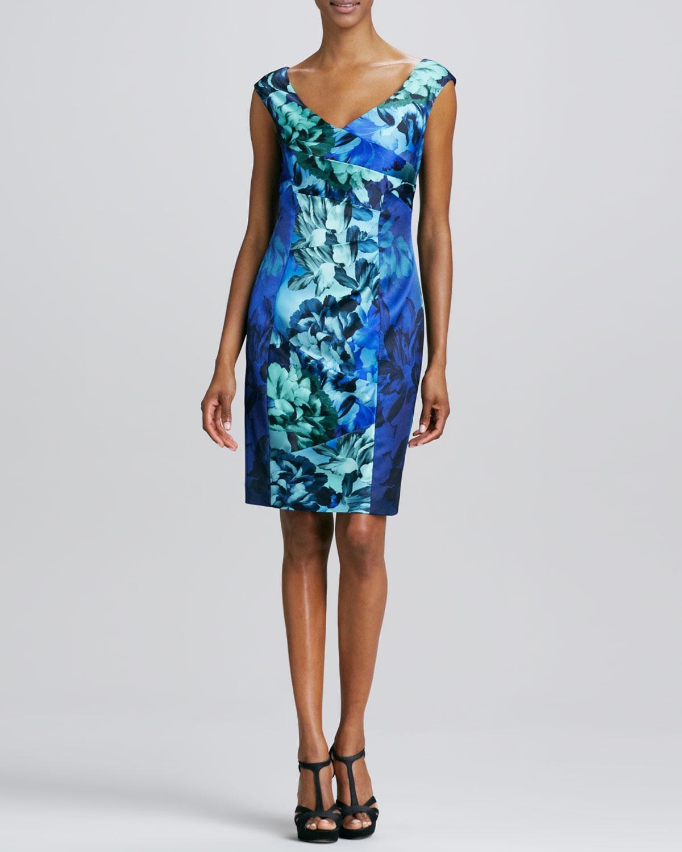 Womens V Neck Floral Printed Cocktail Dress   Kay Unger New York   Blue multi