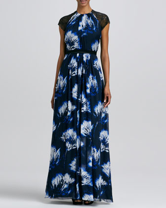 Printed Cap-Sleeve Gown