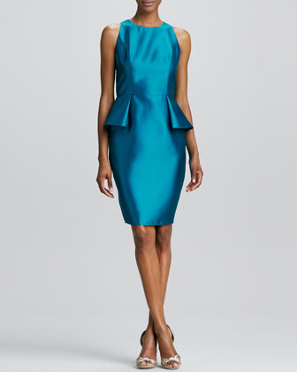 Jewel-Neck Peplum Cocktail Dress