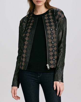 Two-Tone Leather Cutout Jacket