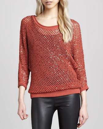 Sequined Open-Mesh Sweater