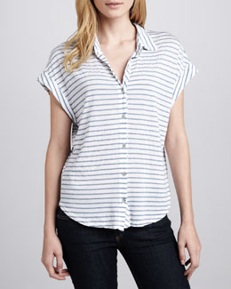 Splendid Chambray-Stripe Blouse