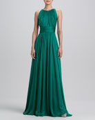 Sleeveless Pleated Gown