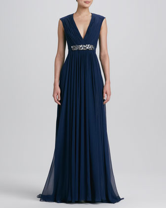 V Neck Beaded-Waist Gown