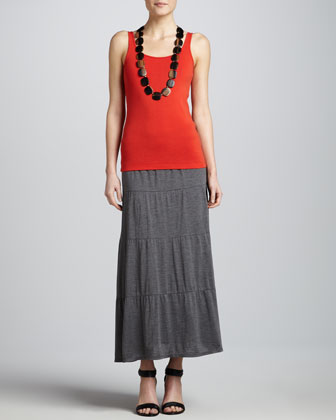 Linen Jersey Loose Tee, Organic Cotton Slim Tank & Tiered Maxi Skirt ...