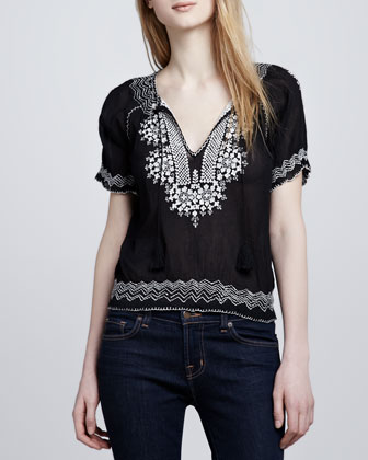 Jamine Embroidered Voile Blouse