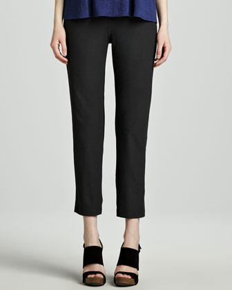 Washable-Crepe Slim Ankle Pants
