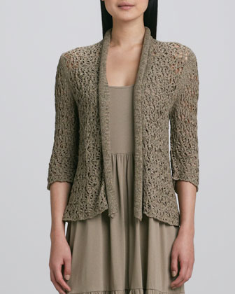 Tape Yarn Knit Cardigan & Tiered Long Tank Dress, Petite