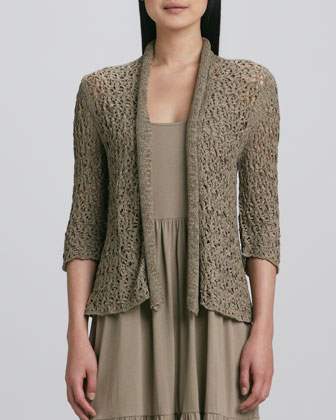 Tape Yarn Knit Cardigan & Tiered Long Tank Dress, Women's