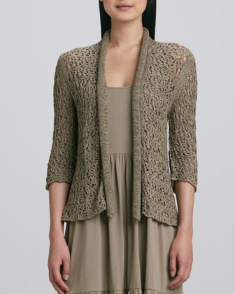 Tape Yarn Knit Cardigan & Tiered Long Tank Dress