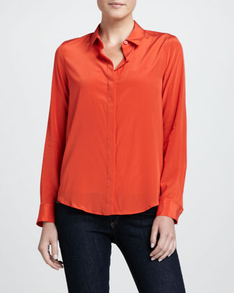 Long-Sleeve Stretch-Silk Blouse