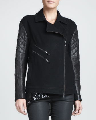 Leather-Sleeve Wool-Blend Jacket