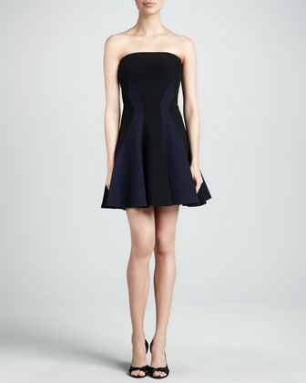 Colorblock Strapless Fit-and-Flare Dress