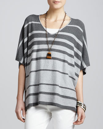 Striped V-Neck Box Top, Petite