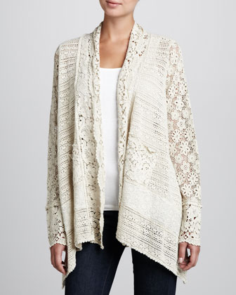 Flower Tiles Crochet Jacket, Women's