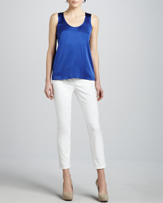 Linen Silk Long Cardigan, Charmeuse Tank, Mosaic Silk Scarf & Skinny Ankle ...