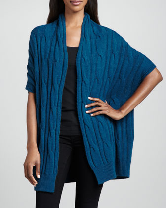 Cable-Knit Short-Sleeve Cardigan