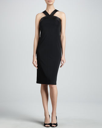 Sleeveless Dress with Leather Trim
