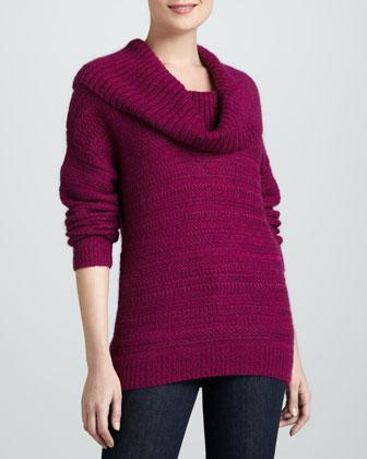 Novelty-Stitch Cowl-Neck Sweater