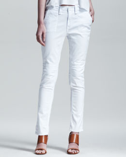 rag & bone/JEAN Bowery Slim-Leg Utility Pants, Bright White