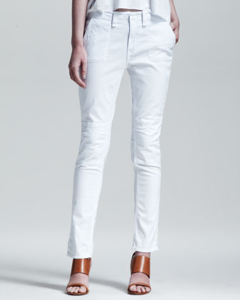 Bowery Slim-Leg Utility Pants, Bright White