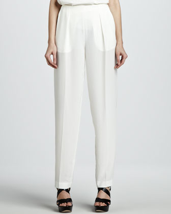 Pervon Pleated Straight-Leg Trousers