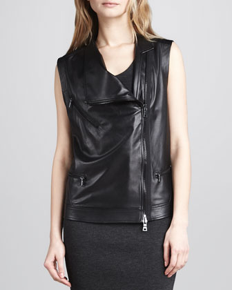 Leather Zip Motorcycle Vest