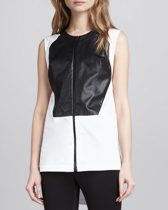 Leather-Block Vest Top