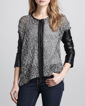 Mix-Fabric/Faux-Leather Zip Cardigan