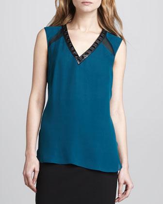 Leather/Grommet Silk Top