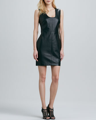 Leather-Front Sleeveless Dress