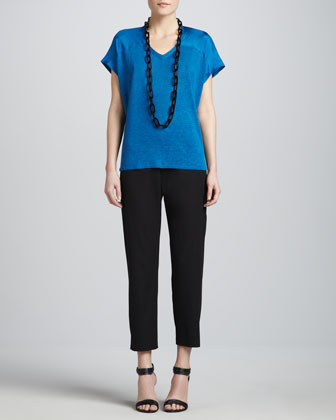 V-Neck Linen-Silk Jersey Box Top & Organic Cotton Slim Ankle Pants, Women's ...