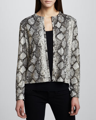 Snake-Print Jacket with Mezzo Grid