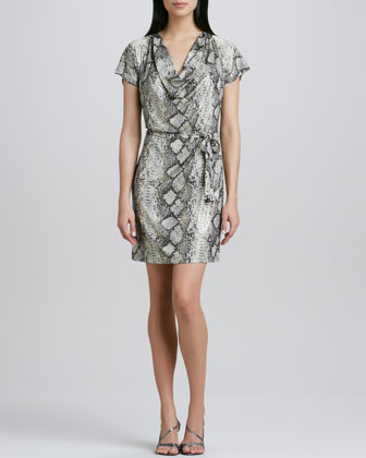 Snake-Print Draped Tie-Waist Dress