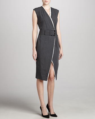 Belted Contrast-Trim Dress
