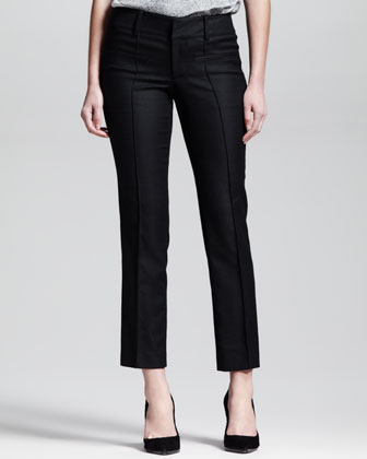 Seamed Stovepipe Ankle Pants